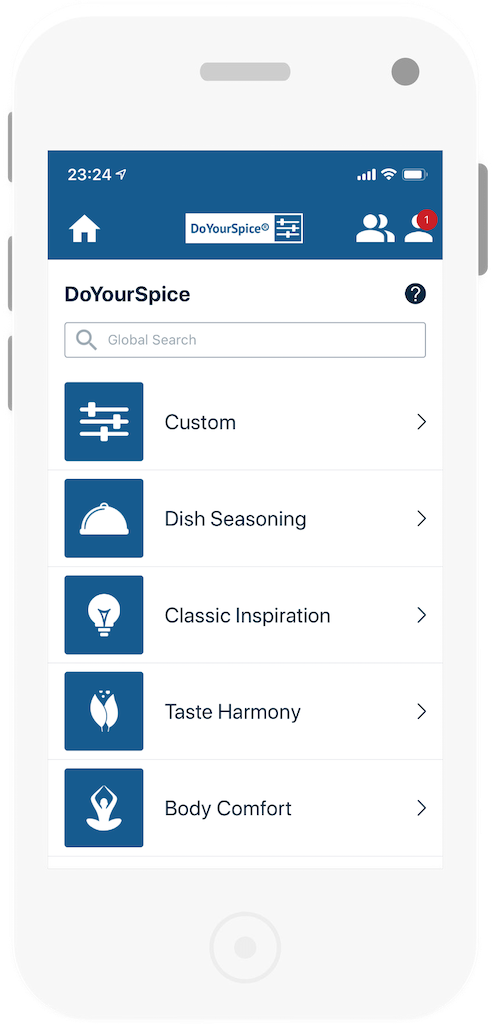 DoYourSpice® Mobile App Home Screen